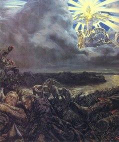 Dażbóg ze Swarożycem i Tarczą-Sołńcem autor Klimenko